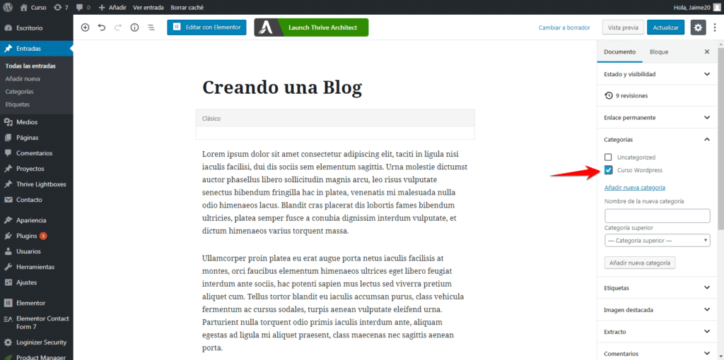 entradas blog en wordpress