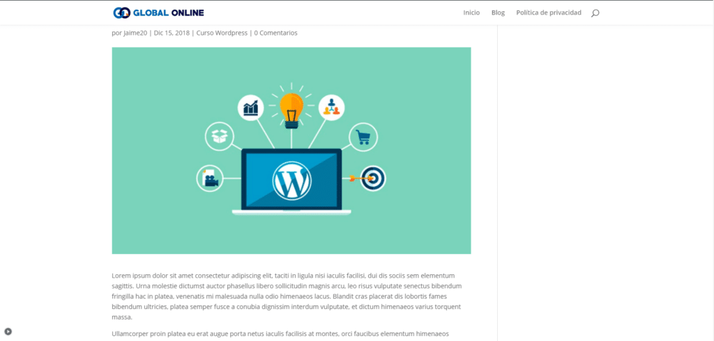 vista previa en wordpress