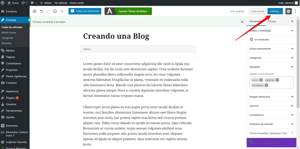 publicar en wordpress