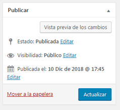 actualizar blog en wordpress